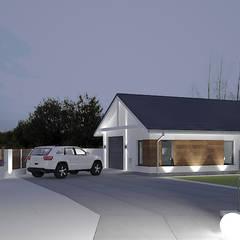 Fasada garażu z elementami drewna: styl , w kategorii Garaż zaprojektowany przez Klaudia Tworo Projektowanie Wnętrz Sp. z o.o.