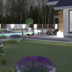 Basen w sąsiedztwie tarasu - betonowy szyk: styl , w kategorii Basen zaprojektowany przez Klaudia Tworo Projektowanie Wnętrz Sp. z o.o.