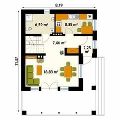 Rzut parteru projektu domu Takt 5: styl , w kategorii Ściany zaprojektowany przez Biuro Projektów MTM Styl - domywstylu.pl