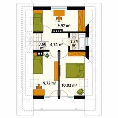 Rzut poddasza projektu domu Takt 5: styl , w kategorii Ściany zaprojektowany przez Biuro Projektów MTM Styl - domywstylu.pl
