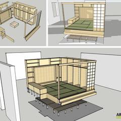Rappresentazione 3D soggiorno: Soggiorno in stile in stile Asiatico di Arpel