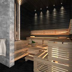 Банный комплекс у реки Спа в скандинавском стиле от ECOForma Скандинавский Дерево Эффект древесины