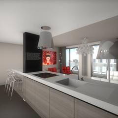 Réhabilitation contemporaine et chic d'un appartement, projet 3D: Cuisine de style  par réHome