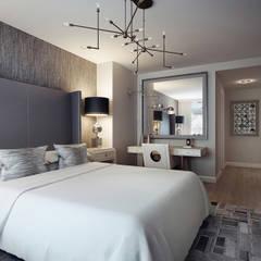 2 bedroom apartment. New York: Спальни в . Автор – KAPRANDESIGN, Эклектичный Дерево Эффект древесины