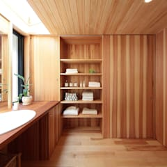 Bathroom by 四季の住まい株式会社, Eclectic Solid Wood Multicolored