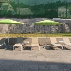Area de Alberca: Salones para eventos de estilo  por SINDO OUTDOOR