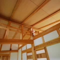 薪ストーブのある平屋建ての家: SSD建築士事務所株式会社が手掛けた壁です。,