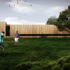 Projekt hotelu dla zwierząt od ddArchitekci Minimalistyczny Drewno O efekcie drewna