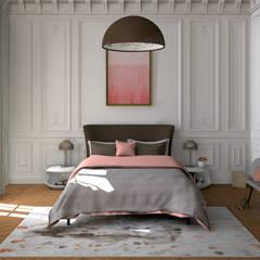 Mariage de l'haussmannien et du design contemporain: Chambre de style de style Moderne par MJ Intérieurs