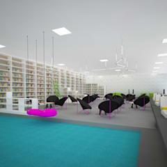 Mediateka - widok w stronę czytelni: styl , w kategorii Centra wystawowe zaprojektowany przez meinDESIGN