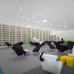 Mediateka - czytelnia: styl , w kategorii Centra wystawowe zaprojektowany przez meinDESIGN