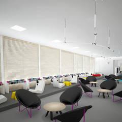 Mediateka - widok w stronę wejścia: styl , w kategorii Centra wystawowe zaprojektowany przez meinDESIGN