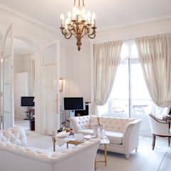 Classic White Living Space: classic Living room by Gracious Luxury Interiors