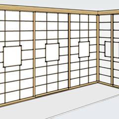 Rappresentazione 3D cabina armadio ad angolo: Camera da letto in stile in stile Asiatico di Arpel
