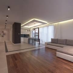 Penthouse: styl , w kategorii Salon zaprojektowany przez Perfect Space