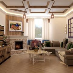 Дизайн кухни-гостиной в станице Смоленская: Гостиная в . Автор – Студия интерьерного дизайна happy.design