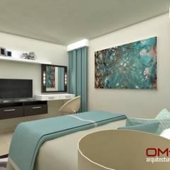 Diseño interior en apartamento, espacio dormitorio principal: Cuartos de estilo  por om-a arquitectura y diseño