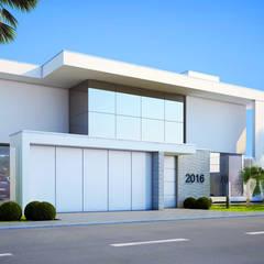 Fachada Frontal: Casas minimalistas por  Arquiteto Elias Mota