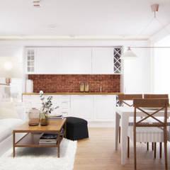 Prowansja na tle cegły na poddaszu w Grodzisku Mazowieckim.: styl , w kategorii Kuchnia zaprojektowany przez TISSU Architecture