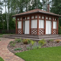 Уличные шторы для беседки: Сады в . Автор – DECOR OUTDOOR