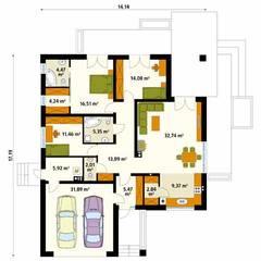 Rzut parteru projektu domu Alibi: styl , w kategorii Ściany zaprojektowany przez Biuro Projektów MTM Styl - domywstylu.pl