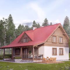 POZIOMKOWY Wiejskie domy od Biuro Projektów MTM Styl - domywstylu.pl Wiejski