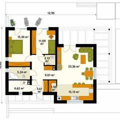 Projekt domu Amika - dwie propozycje wykończenia elewacji: styl , w kategorii Ściany zaprojektowany przez Biuro Projektów MTM Styl - domywstylu.pl