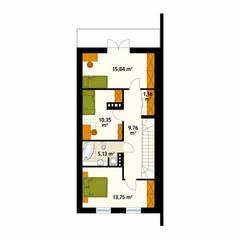Rzut poddasza projektu domu Koliber 4: styl , w kategorii Ściany zaprojektowany przez Biuro Projektów MTM Styl - domywstylu.pl