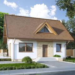 Wizualizacja projektu domu Bez: styl nowoczesne, w kategorii Domy zaprojektowany przez Biuro Projektów MTM Styl - domywstylu.pl