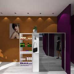 Aménagement d'un salon de coiffure.: Centres commerciaux de style  par FP Design espace