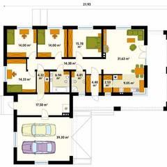 Rzut parteru  projektu domu Jadeit: styl , w kategorii Ściany zaprojektowany przez Biuro Projektów MTM Styl - domywstylu.pl