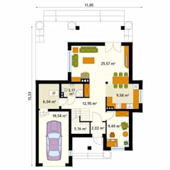 Rzut parteru projektu domu Cyprys: styl , w kategorii Ściany zaprojektowany przez Biuro Projektów MTM Styl - domywstylu.pl