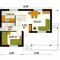BIEDRONKA - NIEWIELKI DOMEK LETNISKOWY: styl , w kategorii Ściany zaprojektowany przez Biuro Projektów MTM Styl - domywstylu.pl