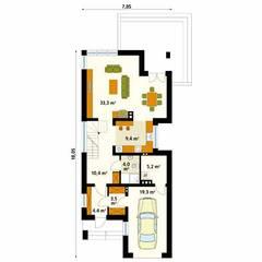 Rzut parteru projektu domu Brzoza: styl , w kategorii Ściany zaprojektowany przez Biuro Projektów MTM Styl - domywstylu.pl