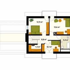 Rzut poddasza projektu domu Azalia 3: styl , w kategorii Ściany zaprojektowany przez Biuro Projektów MTM Styl - domywstylu.pl