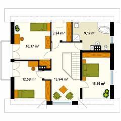 Rzut poddasza projektu domu Meteor 2: styl , w kategorii Ściany zaprojektowany przez Biuro Projektów MTM Styl - domywstylu.pl