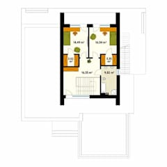 Rzut poddasza projektu domu Asteria: styl , w kategorii Ściany zaprojektowany przez Biuro Projektów MTM Styl - domywstylu.pl