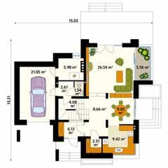 Rzut parteru  projektu domu Jaspis: styl , w kategorii Ściany zaprojektowany przez Biuro Projektów MTM Styl - domywstylu.pl