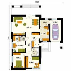 Rzut parteru projektu domu Neptun 4: styl , w kategorii Ściany zaprojektowany przez Biuro Projektów MTM Styl - domywstylu.pl