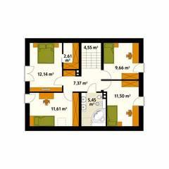Rzut poddasza projektu domu Jeżyna: styl , w kategorii Ściany zaprojektowany przez Biuro Projektów MTM Styl - domywstylu.pl