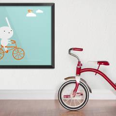 Bunny on a bike:  Nursery/kid's room by Pixers