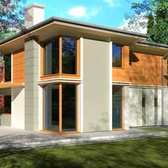 Podmiejska willa: styl , w kategorii Domy zaprojektowany przez KONTRAST STUDIO