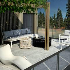 Projekt wnętrz domu w zabudowie bliźniaczej - Norwegia, Jessheim: styl , w kategorii Taras zaprojektowany przez MFA Studio Sp z o.o.