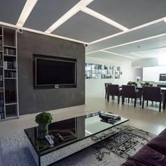 DEPARTAMENTO EN PARQUES POLANCO, CDMX: Salas multimedia de estilo  por HO arquitectura de interiores,