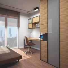 Gabinet w stylu industrialnym: styl , w kategorii Domowe biuro i gabinet zaprojektowany przez ZAWICKA-ID Projektowanie wnętrz