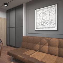 Gabinet w stylu industrialny: styl , w kategorii Domowe biuro i gabinet zaprojektowany przez ZAWICKA-ID Projektowanie wnętrz