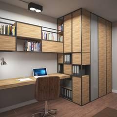 Gabinet z biblioteczką: styl , w kategorii Domowe biuro i gabinet zaprojektowany przez ZAWICKA-ID Projektowanie wnętrz