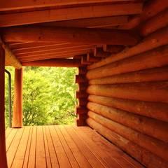 Dom z bali z zielonym dachem: styl , w kategorii Taras zaprojektowany przez Organica Design & Build