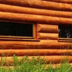 Dom z bali z zielonym dachem: styl , w kategorii Domy zaprojektowany przez Organica Design & Build