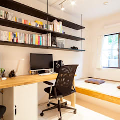 M邸-理系夫婦が実現させた「五ツ星の家」: 株式会社ブルースタジオが手掛けた書斎です。
